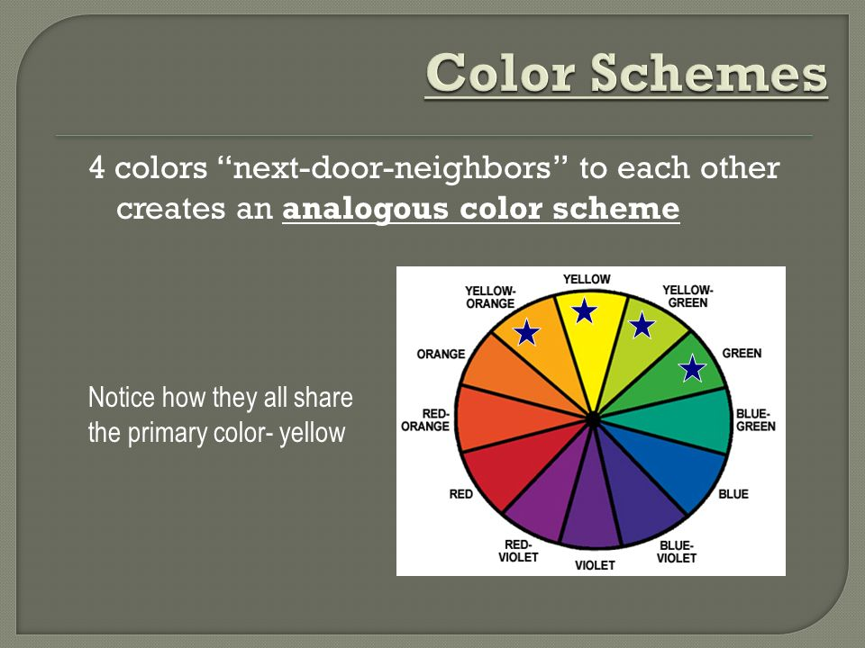 Color Schemes 4 colors next-door-neighbors to each other creates an analogous color scheme.