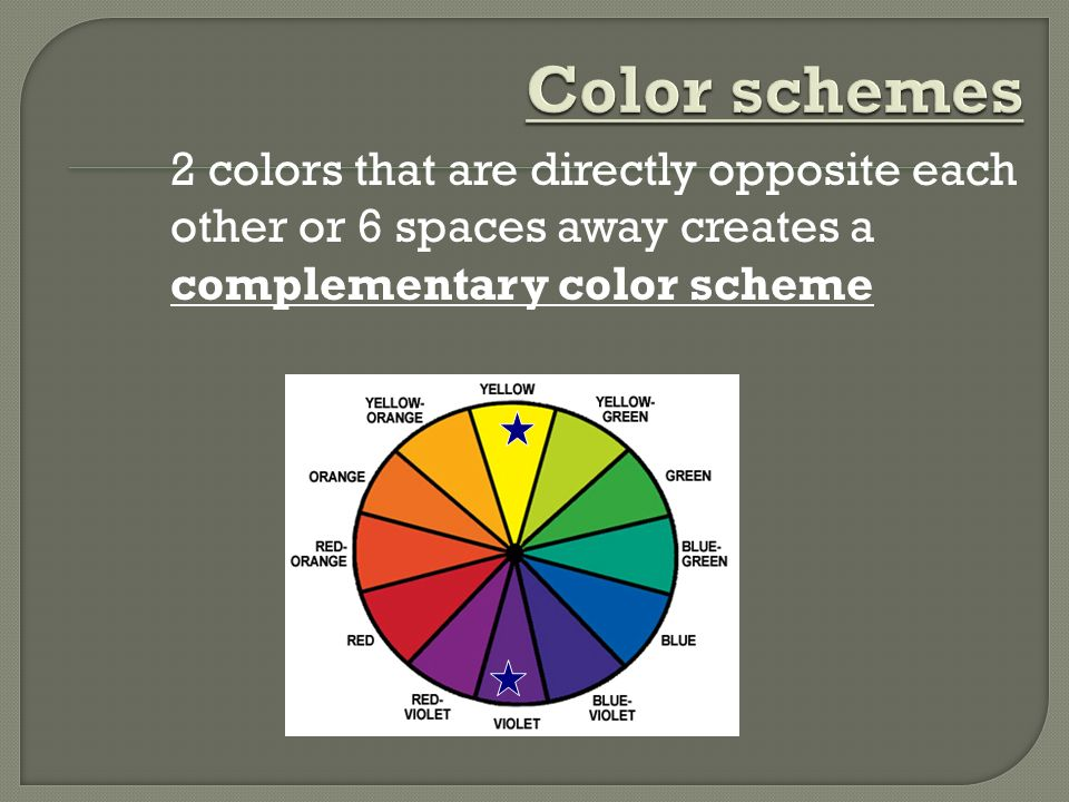 Color schemes 2 colors that are directly opposite each other or 6 spaces away creates a complementary color scheme.