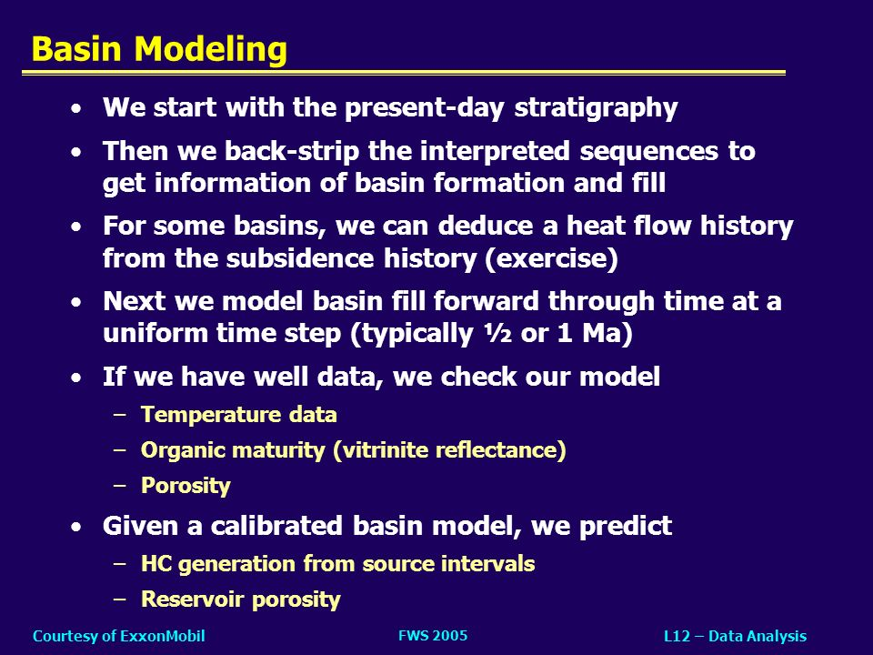 Basin Modeling We start with the present-day stratigraphy