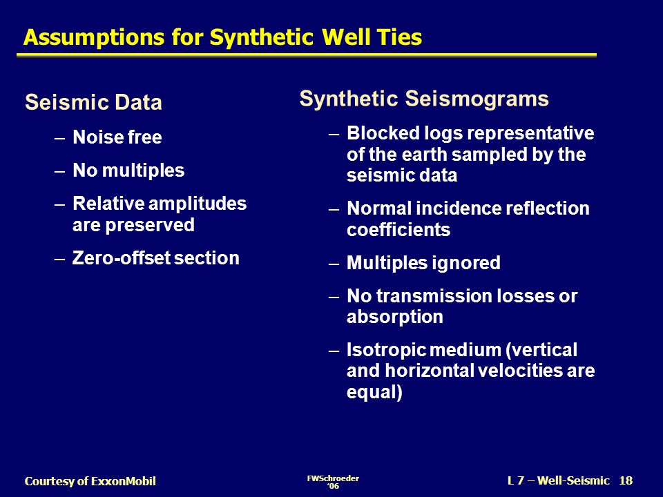 Assumptions for Synthetic Well Ties