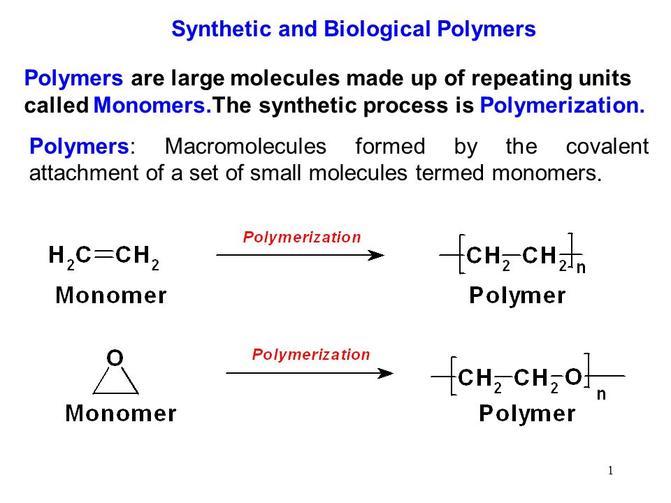 An analysis of large molecules composed of smaller molecules called monomers