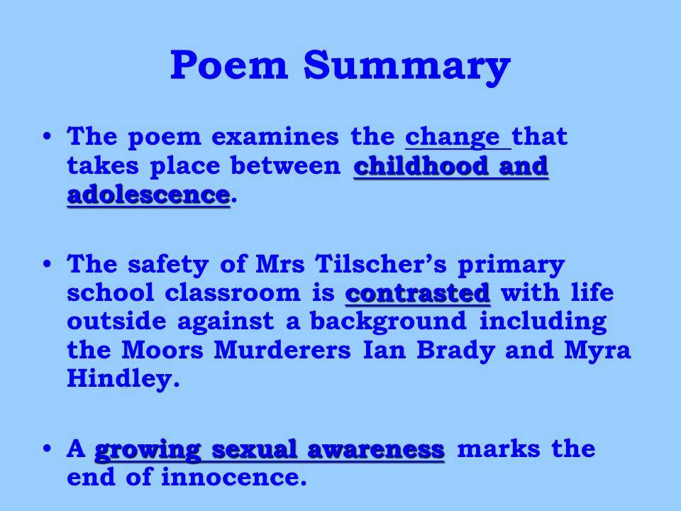 a summary of the poem after