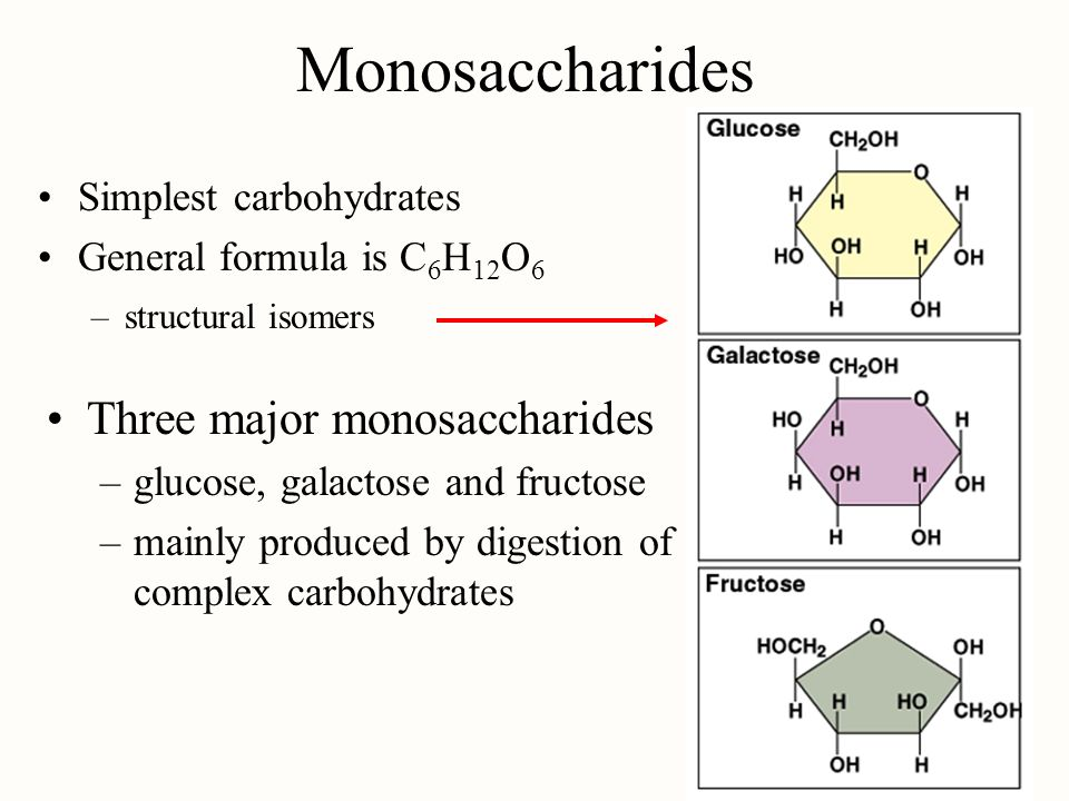 Monosaccharides Three major monosaccharides Simplest carbohydrates