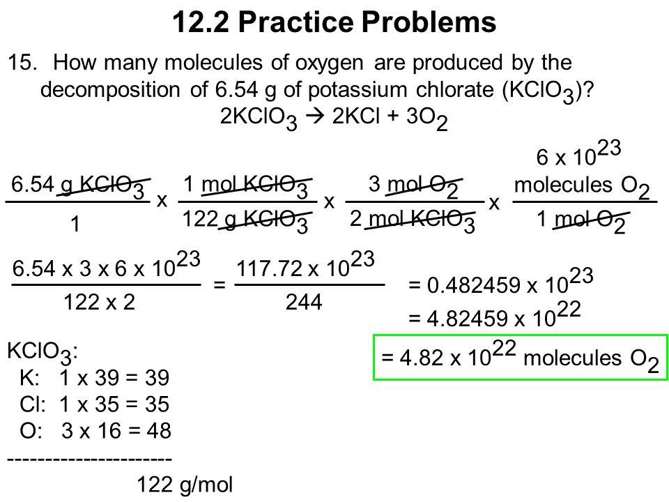 the decomposition of potassium chlorate In this science fair project, students will learn how to calculate the formula for the  thermal decomposition of potassium chlorate.