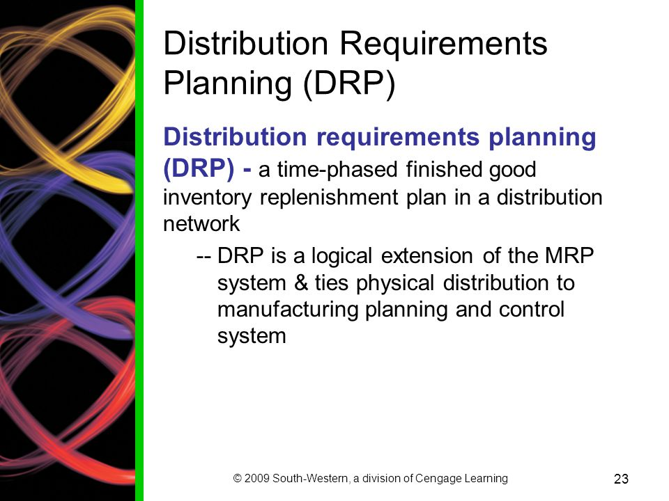 distribution resource requirements planning Distribution resource planning (drp) perhaps the most significant change from an operational standpoint was the extension of the ideas of mrp into the management of stock within the distribution network.