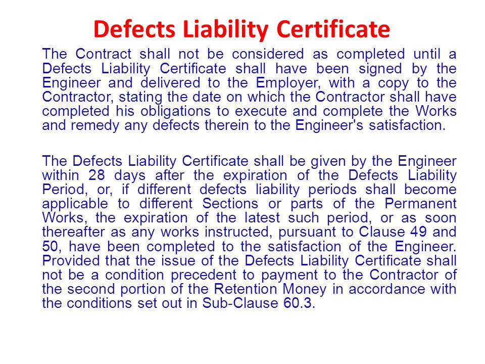 defects of contract February 22 2016 philip harris standard definition of defects there is no recognised standard definition of defects however, a definition that is easy to follow is given in the leading textbook hudson's building and engineering contracts as work which fails to comply with the express descriptions or requirements of the contract, including.