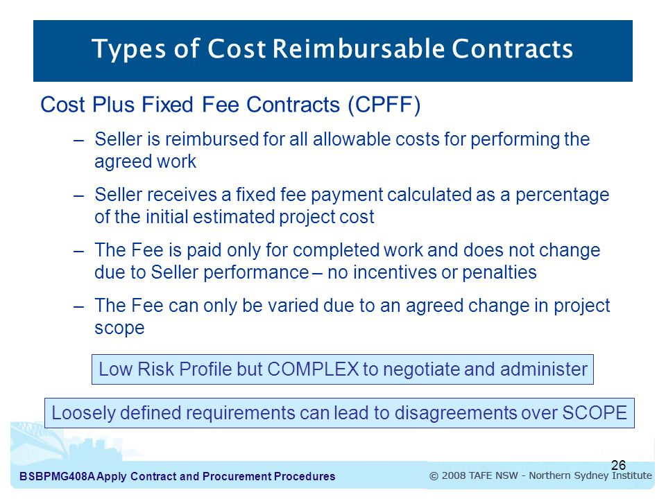 Apply contract and procurement procedures introduction to for Cost plus contract example