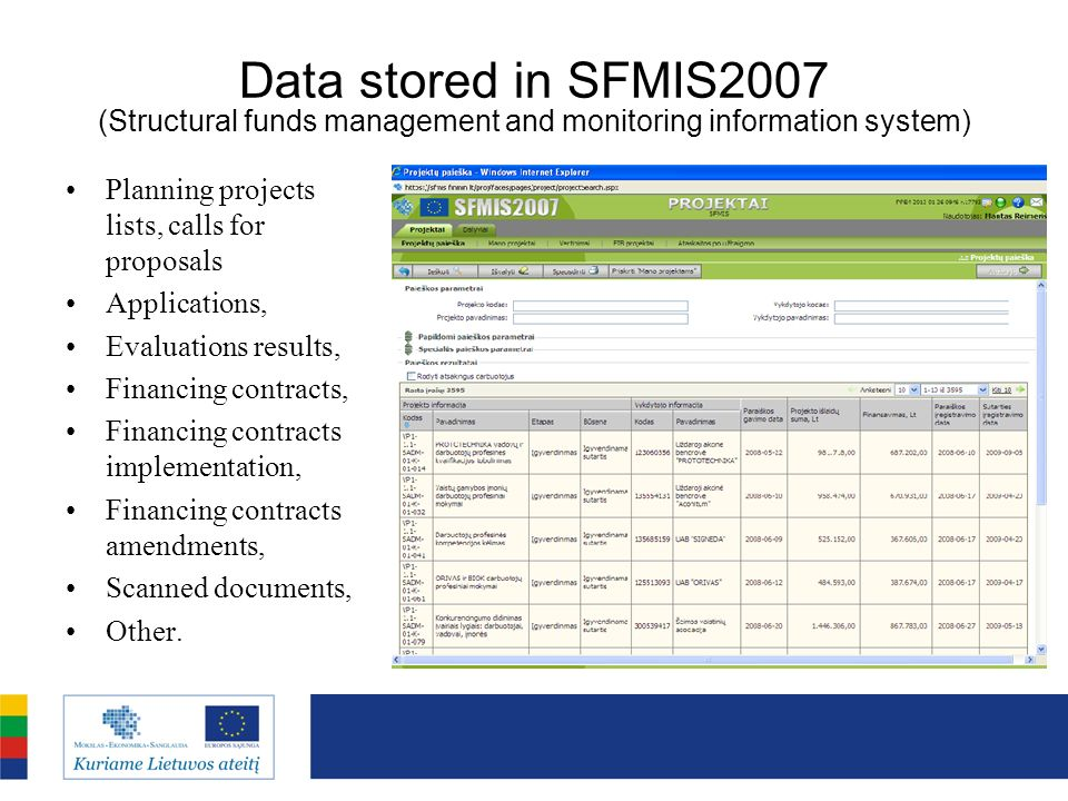 Data stored in SFMIS2007 (Structural funds management and monitoring information system)