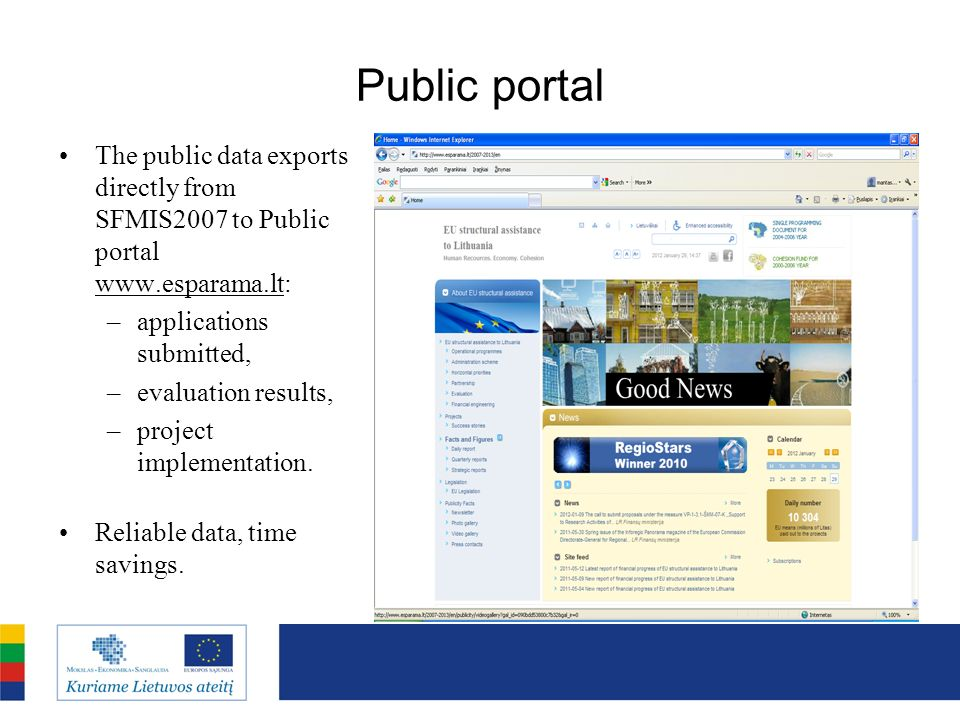 Public portal The public data exports directly from SFMIS2007 to Public portal   applications submitted,