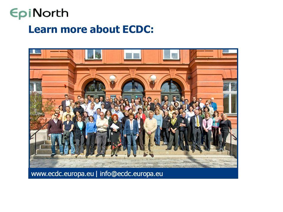 Learn more about ECDC: www.ecdc.europa.eu | info@ecdc.europa.eu