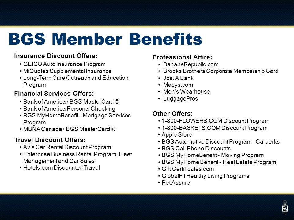BGS Member Benefits Insurance Discount Offers: Professional Attire: