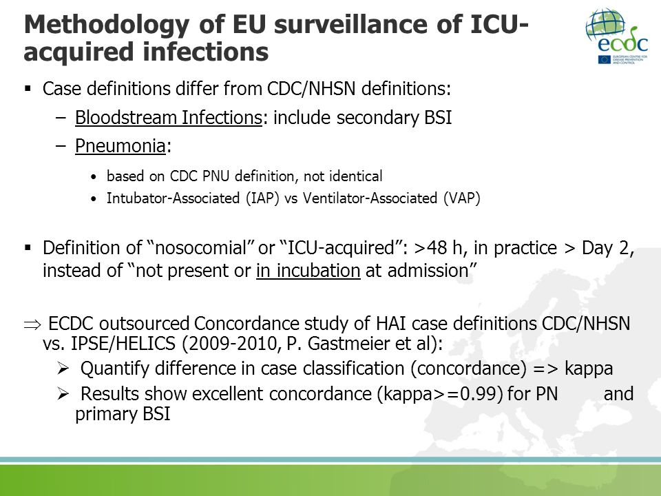 Methodology of EU surveillance of ICU-acquired infections