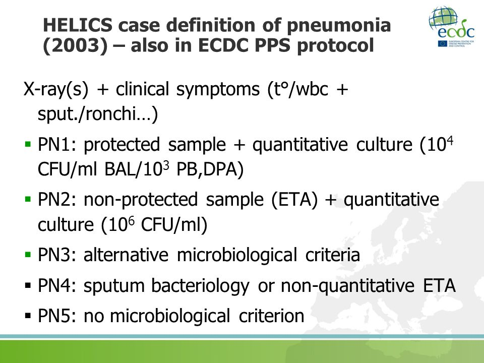 HELICS case definition of pneumonia (2003) – also in ECDC PPS protocol