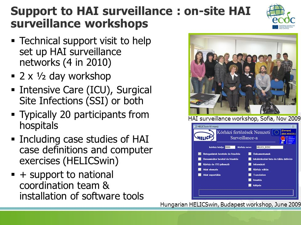 Support to HAI surveillance : on-site HAI surveillance workshops