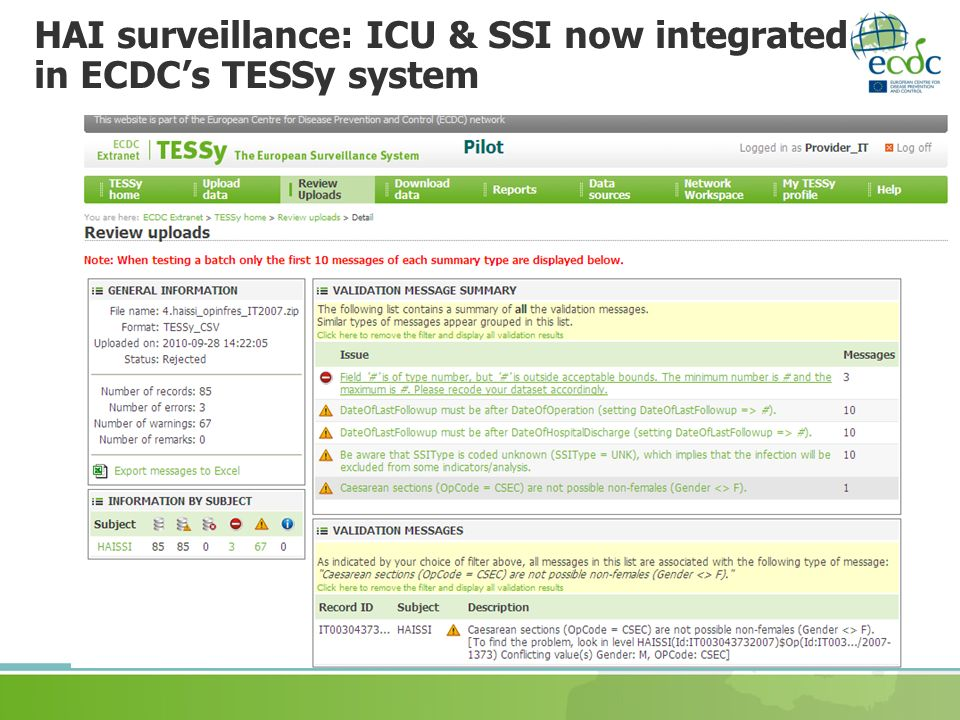 HAI surveillance: ICU & SSI now integrated in ECDC's TESSy system