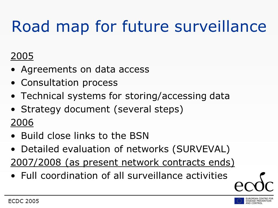 Road map for future surveillance