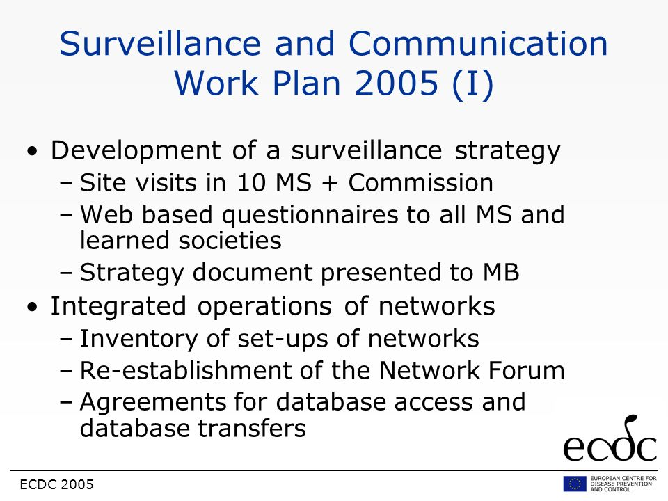 Surveillance and Communication Work Plan 2005 (I)