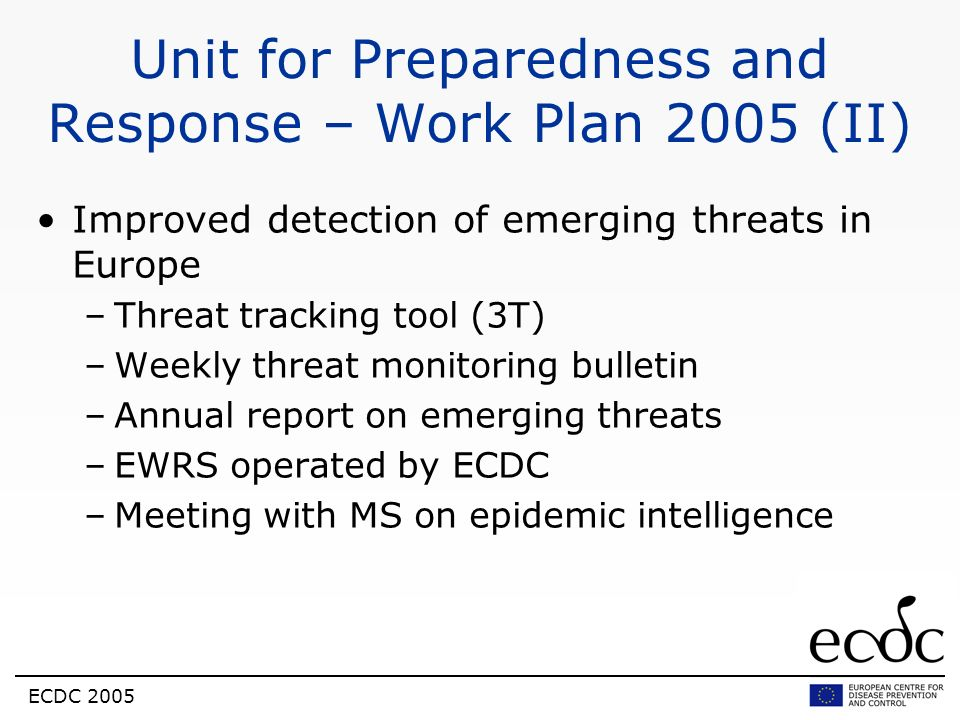 Unit for Preparedness and Response – Work Plan 2005 (II)