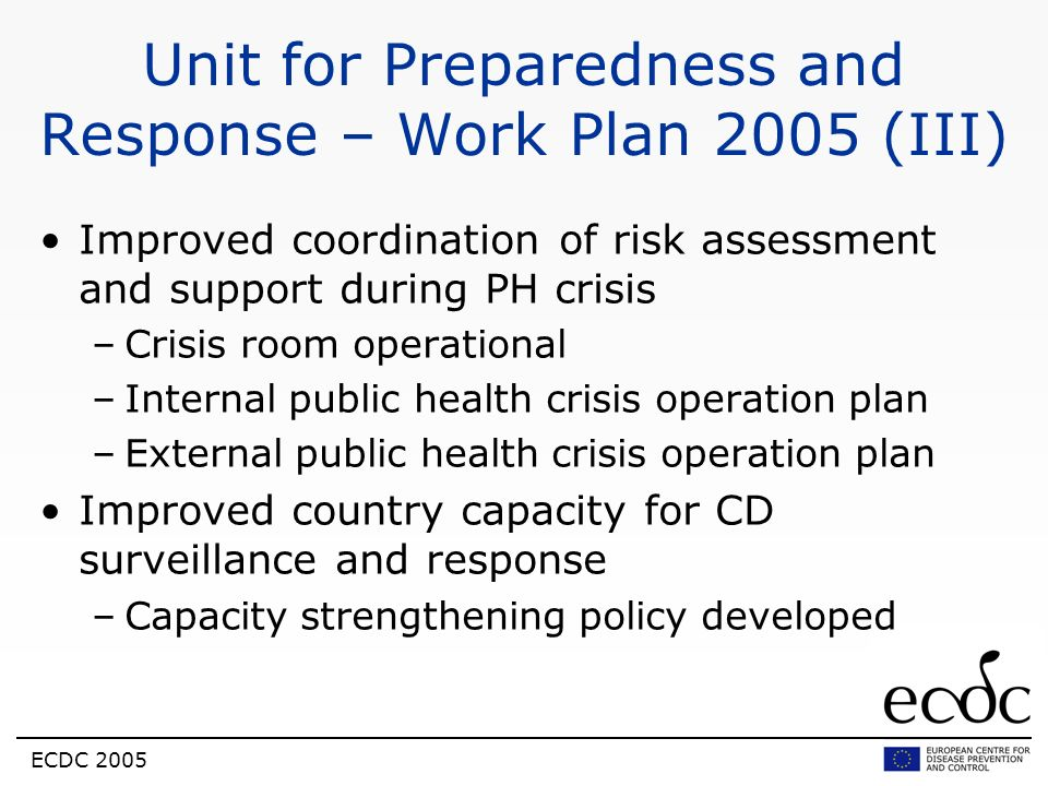 Unit for Preparedness and Response – Work Plan 2005 (III)