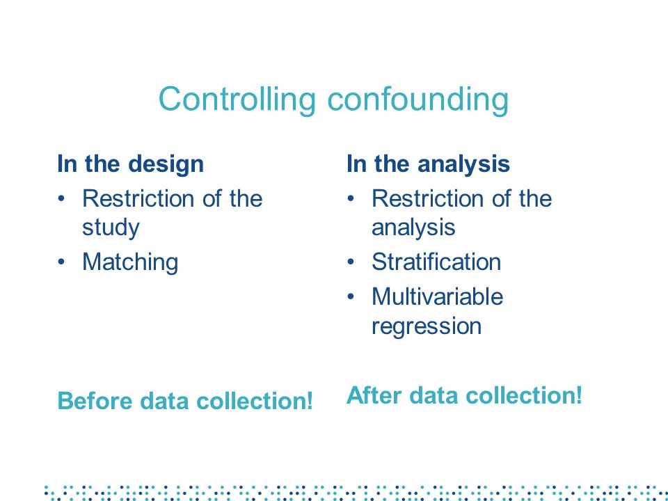 Controlling confounding