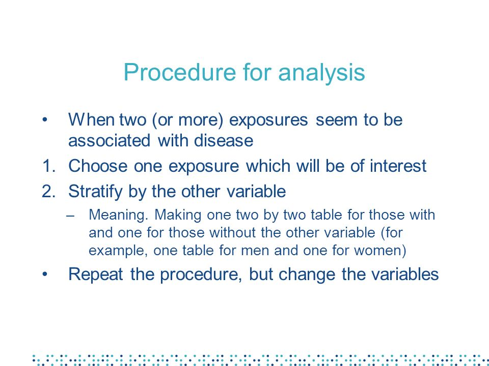 Procedure for analysis