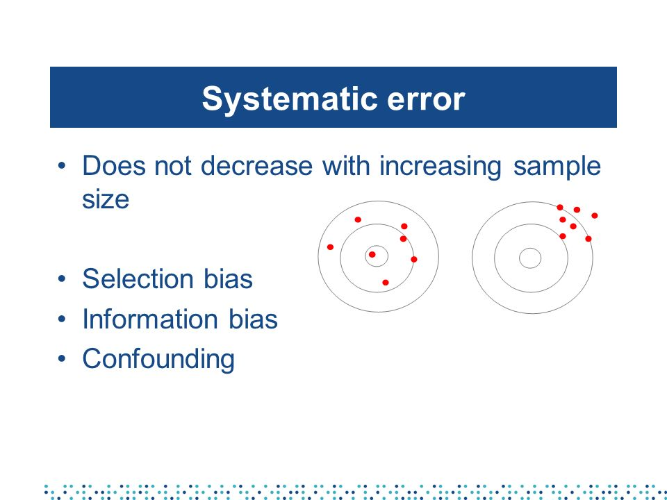 Systematic error Does not decrease with increasing sample size