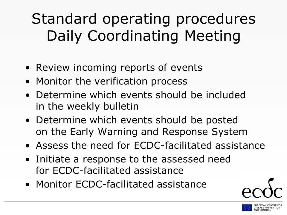 Standard operating procedures Daily Coordinating Meeting