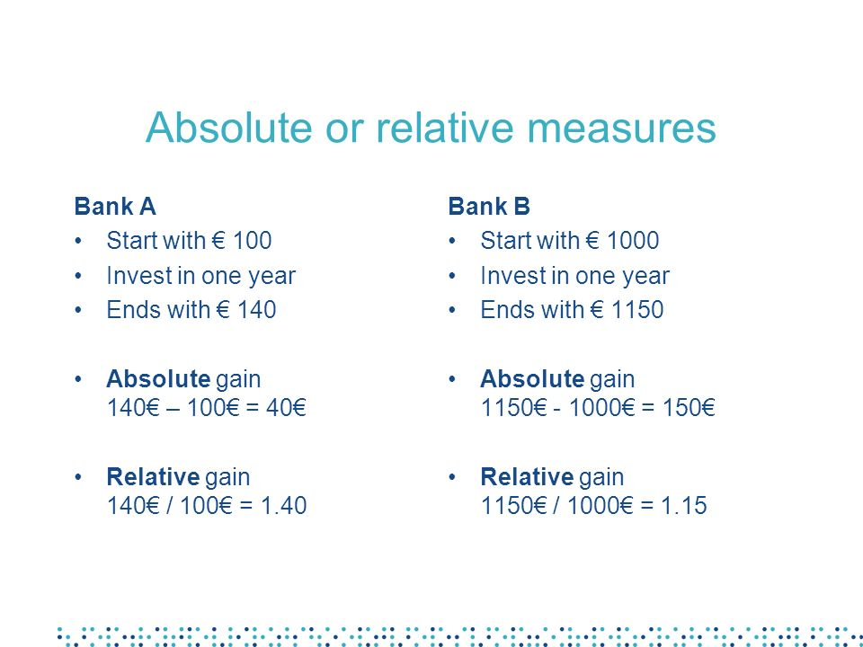 Absolute or relative measures