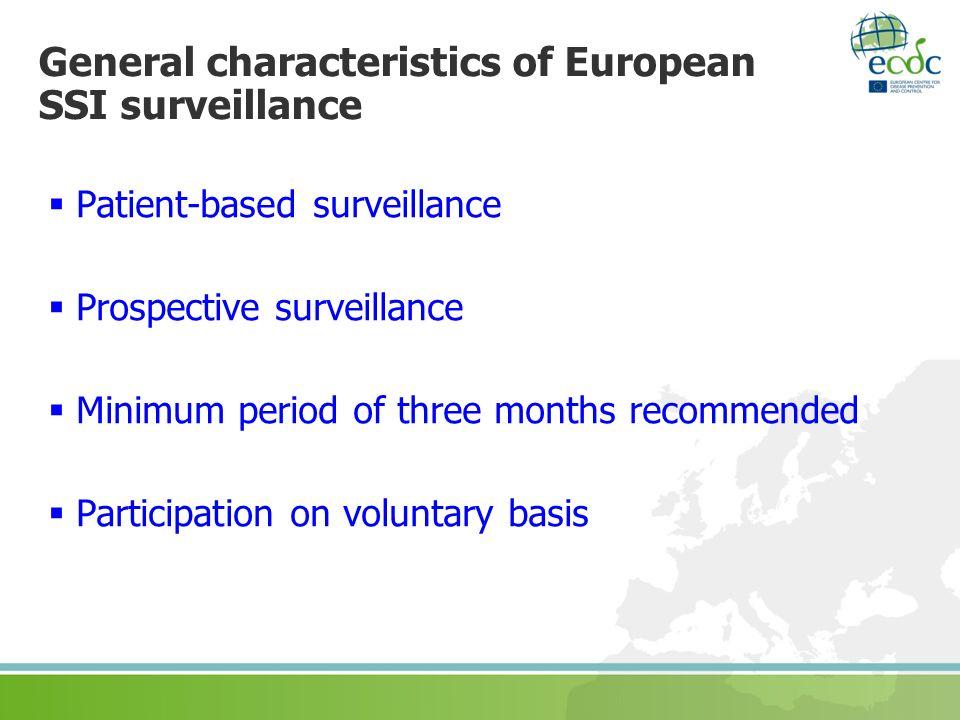 General characteristics of European SSI surveillance