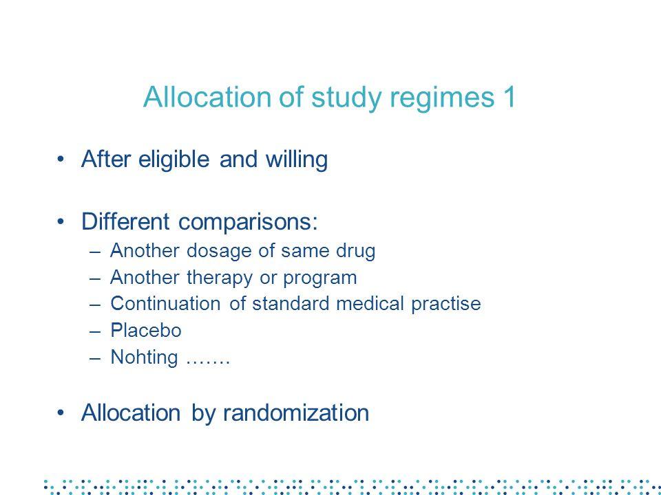 Allocation of study regimes 1