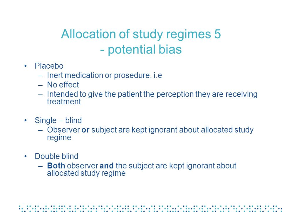 Allocation of study regimes 5 - potential bias