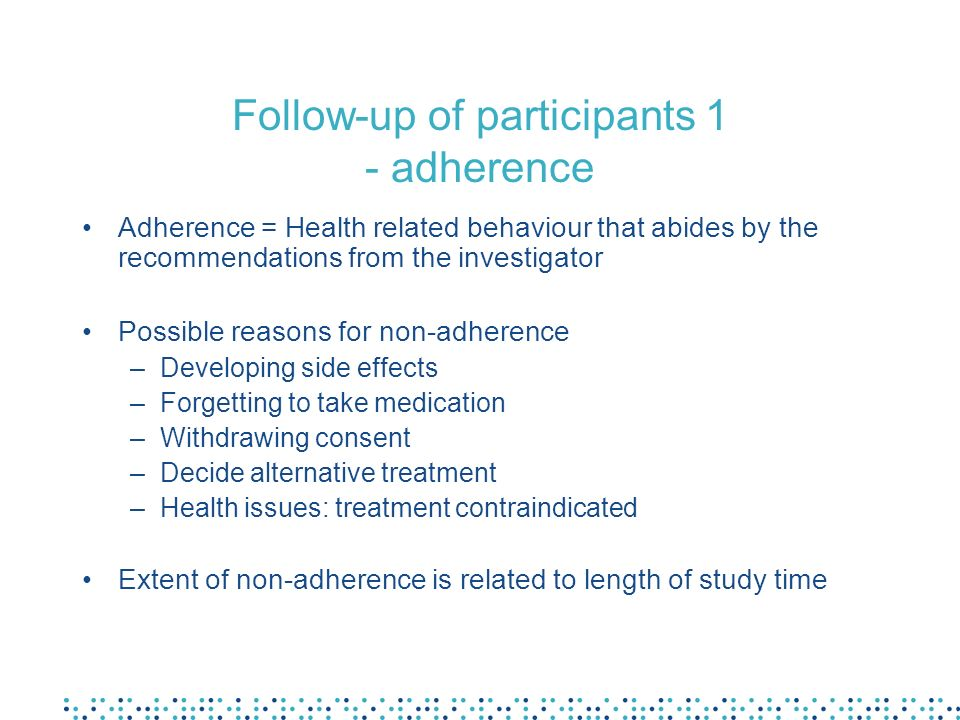 Follow-up of participants 1 - adherence