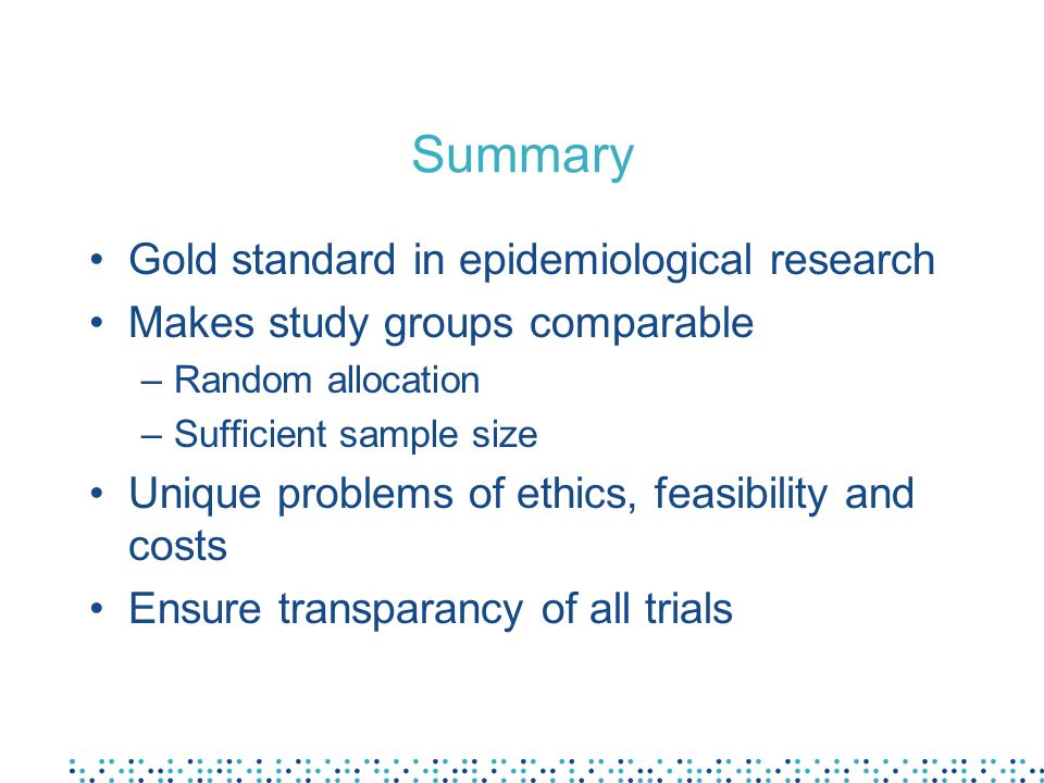 Summary Gold standard in epidemiological research