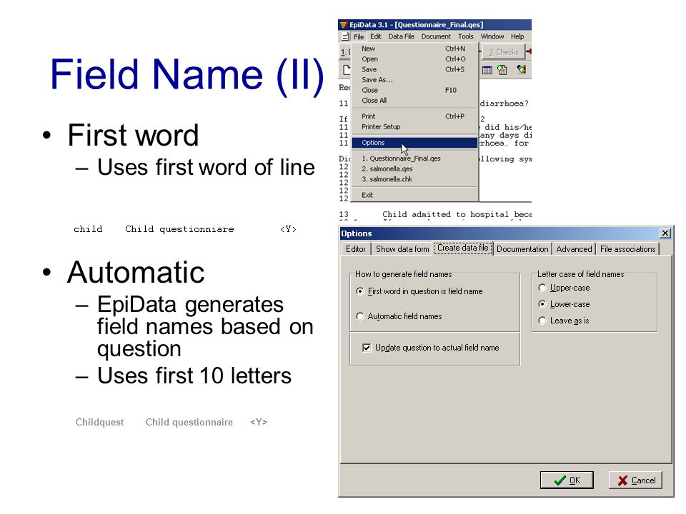 Field Name (II) First word Automatic Uses first word of line
