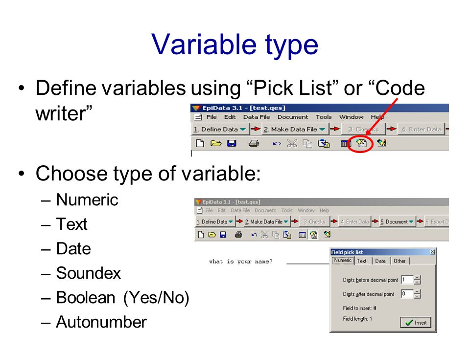Variable type Define variables using Pick List or Code writer