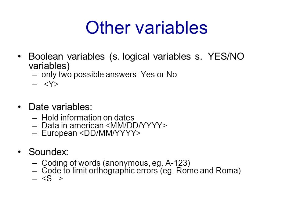 Other variables Boolean variables (s. logical variables s. YES/NO variables) only two possible answers: Yes or No.