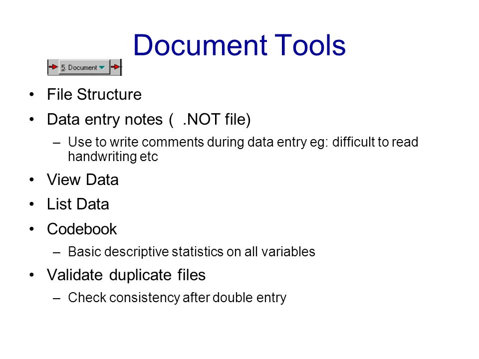 Document Tools File Structure Data entry notes ( .NOT file) View Data