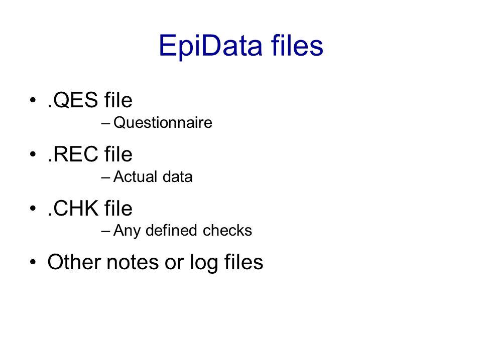 EpiData files .QES file .REC file .CHK file Other notes or log files