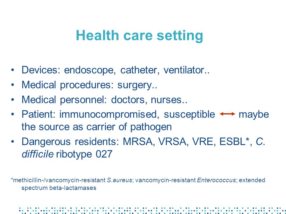 Health care setting Devices: endoscope, catheter, ventilator..