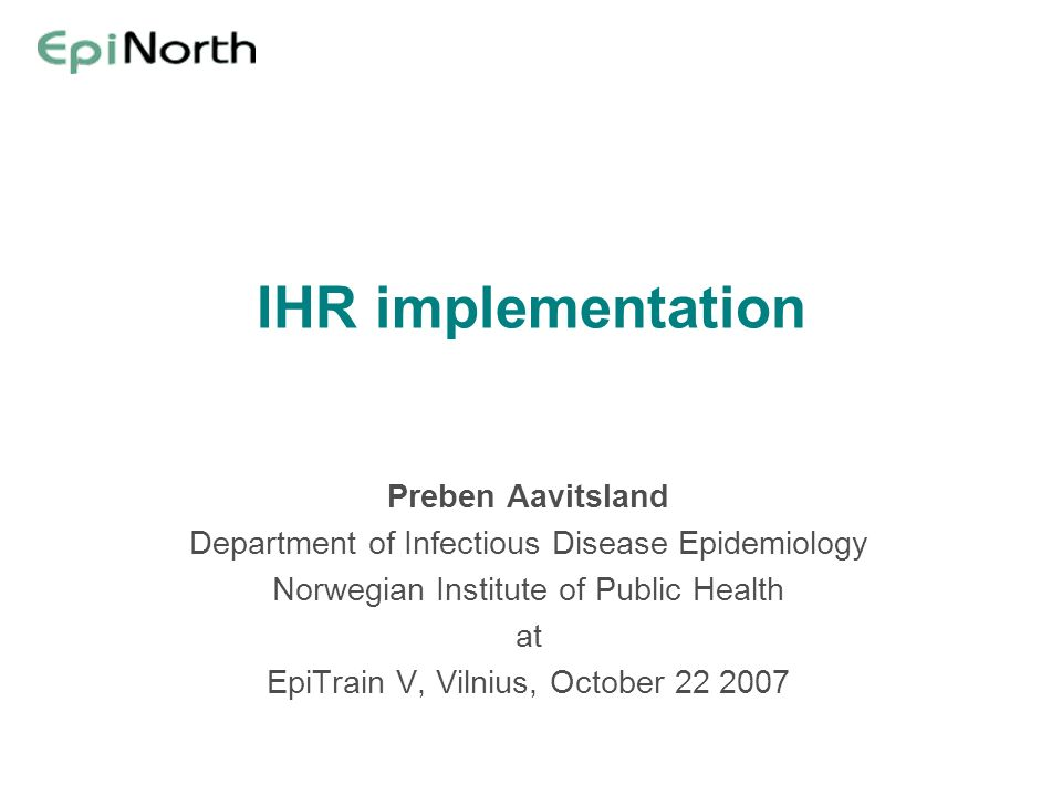 IHR implementation Preben Aavitsland