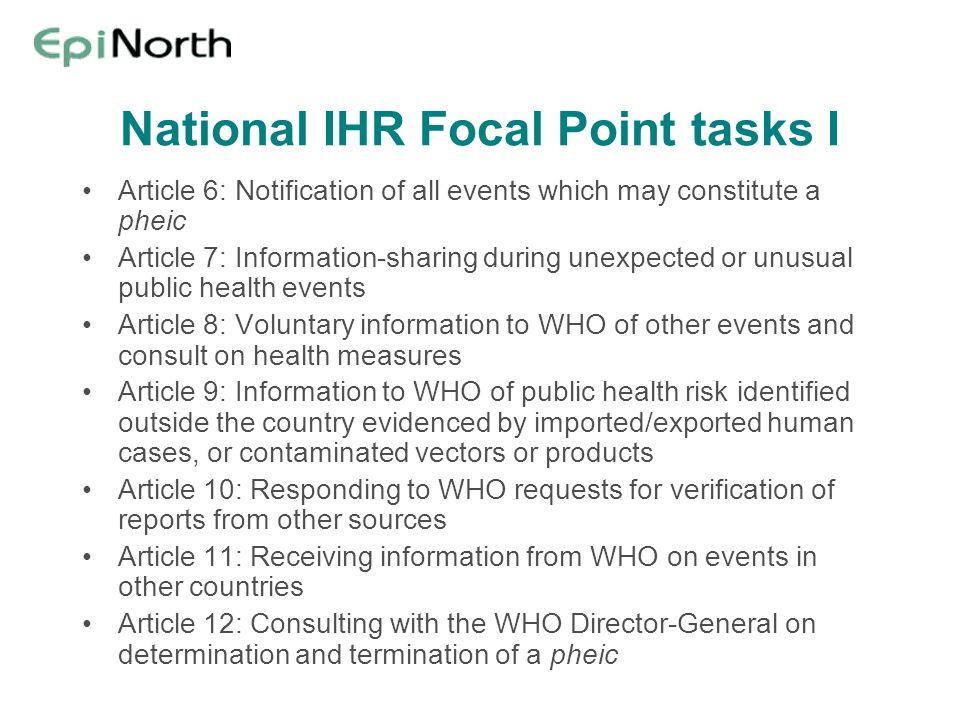 National IHR Focal Point tasks I