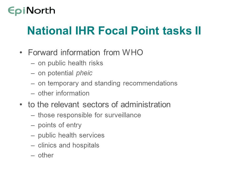 National IHR Focal Point tasks II
