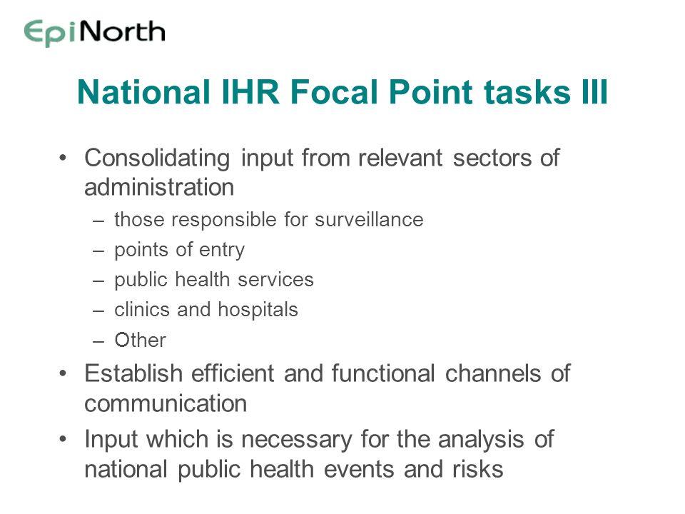 National IHR Focal Point tasks III