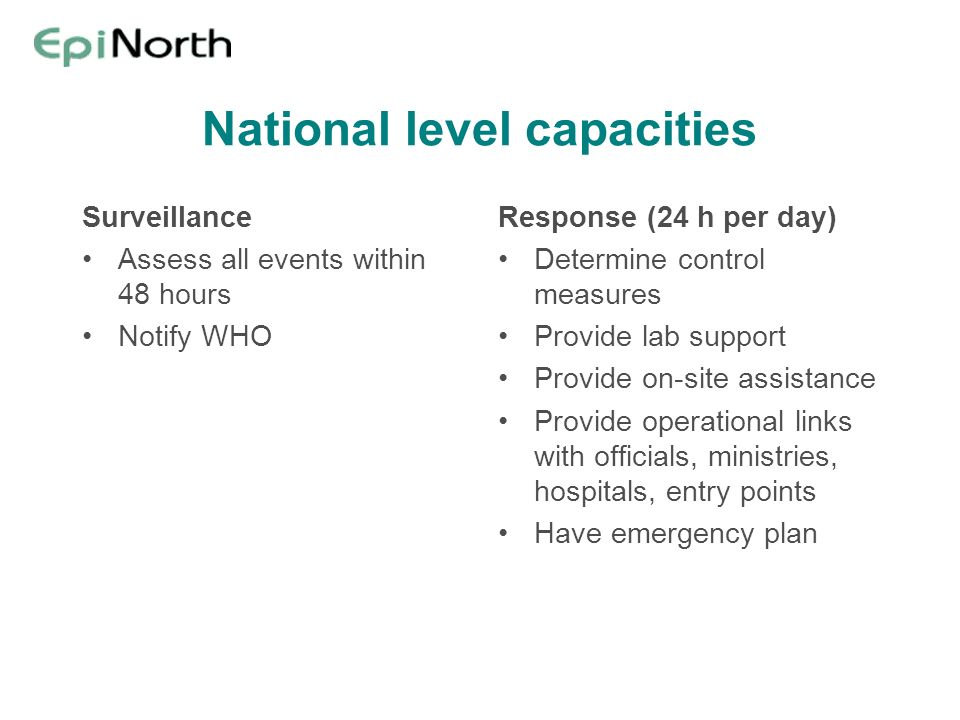 National level capacities
