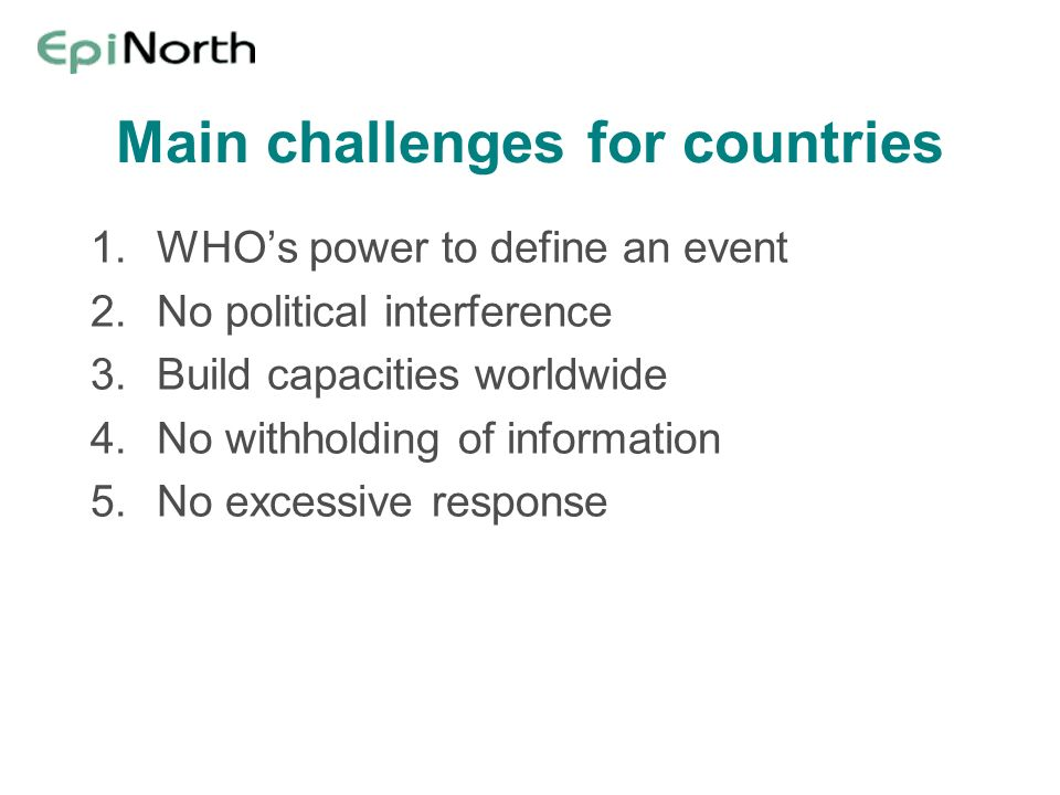 Main challenges for countries