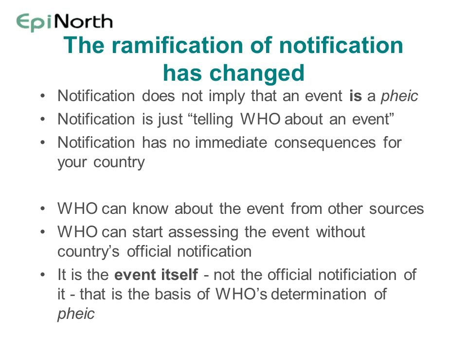The ramification of notification has changed