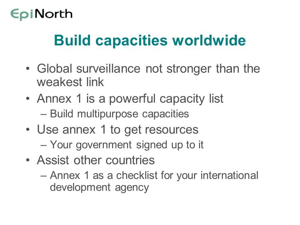 Build capacities worldwide