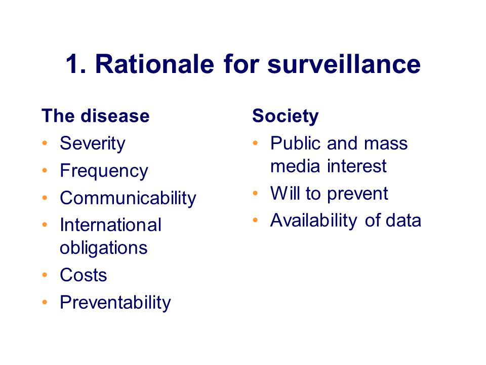 1. Rationale for surveillance