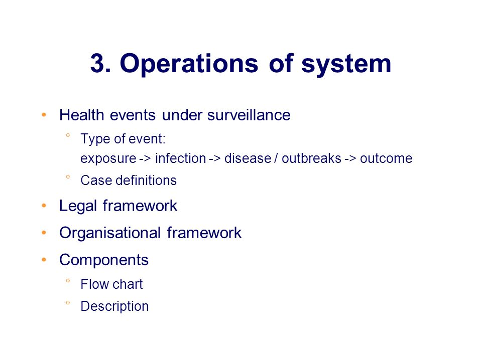 3. Operations of system Health events under surveillance