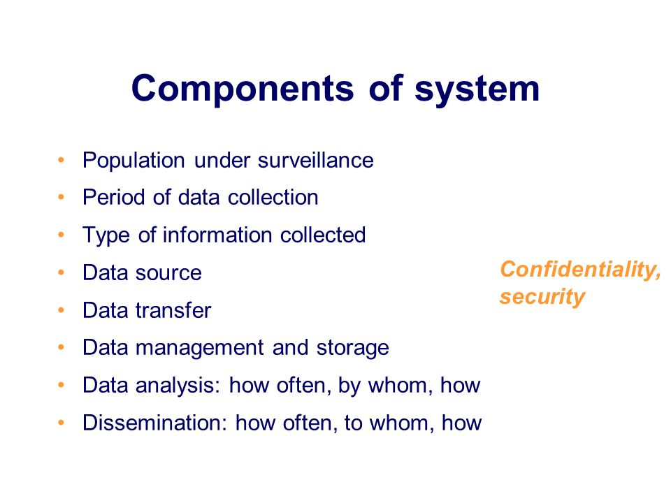 Components of system Population under surveillance